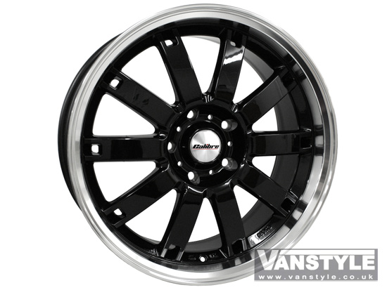 "Calibre Boulevard Gloss Black and Polished Rim 8x18"" VW T5 5x120"