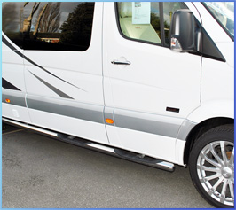 76mm Stainless Steel Side Bars (4x Steps) Crafter/Sprinter LWB