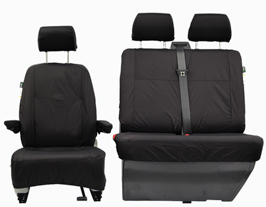 VW T5 Black Tailored Front Seat Cover Set Single & Twin