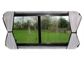 Tailored Curtain Drivers Side Mid Window non-Sliding Dr Red Blue