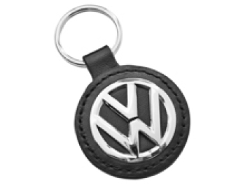 Genuine Volkswagen Key Ring/Tag Leather & Polished VW Logo