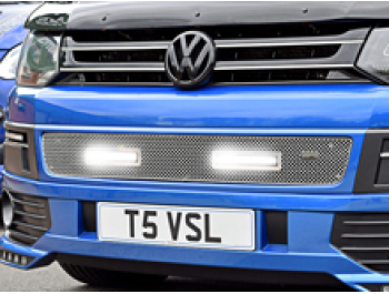 DRL Vanstyle Sport Polished Mesh Grille With DRL Lamps VW T5
