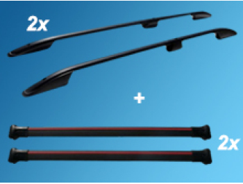 Aluminium Black Roof + Cross Bar Set Mercedes Vito 03-14>