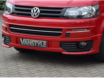 VW T5 10-15 Sportline Style Front Splitter + Fog Light Kit