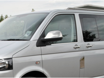 Stainless Mirror Covers, VW T5 Transporter & Amarok 10-15>