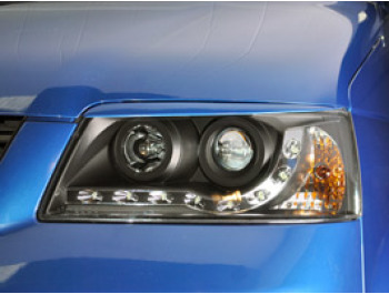 Headlamp Set, Black With Audi Style LED, VW T5 2003>09