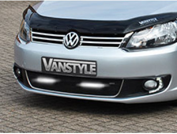 VW Caddy & Maxi 10-15 Mesh Grille Polished/Black w/DRLs - 2 Bar
