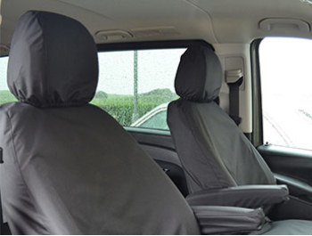 Vito W447 - Tailored Seat Covers - Black - Armrest Models