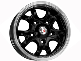 "Calibre Dominator Set of 4 Wheels Black / Polished 6.5x16"" VW T5"