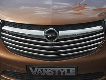 4Pcs Polished Stainless Front Upper Grille Trim - Vivaro 14>19