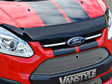 Ford Transit Custom 2012> Black Acrylic Bonnet Wind Deflector