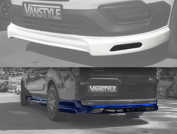 Transit Custom 2018> Front Splitter, Side Skirts & Rear Skirt