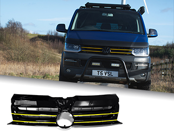 Gloss Black Badged Grille w/ Yellow Trim Inserts - VW T5.1