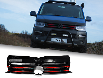Gloss Black Badged Grille w/ Red Trim Inserts - VW T5.1