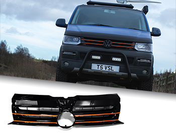 Gloss Black Badged Grille w/ Orange Trim Inserts - VW T5.1