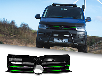 Gloss Black Badged Grille w/ Green Trim Inserts - VW T5.1