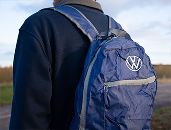 Genuine VW Fold Up Rucksack Dark Blue Volkswagen Collection