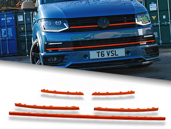 Gloss Orange Upper Grille + Radiator Trim Inserts - VW T6 15-19