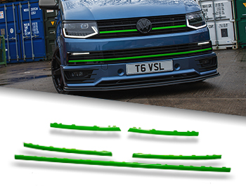 Gloss Green Upper Grille + Radiator Trim Inserts - VW T6 15-19