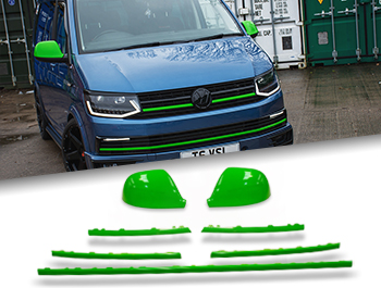 Gloss Green Mirror, Grille + Radiator Trim Inserts - VW T6 15-19
