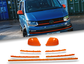 Gloss Orange Mirror, Grille + Radiator Trim Insert - VW T6 15-19