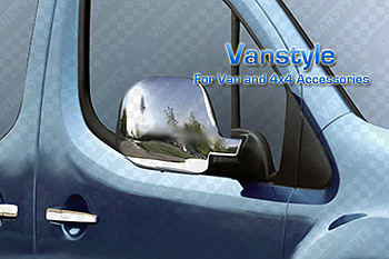 Chrome Mirror Cover Set - Citroen Berlingo Peugeot Partner 08>