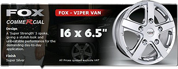 Viper Van Wheel 16x6.5 Brite Metal Set of 4 - 5x160 Ford Tansit