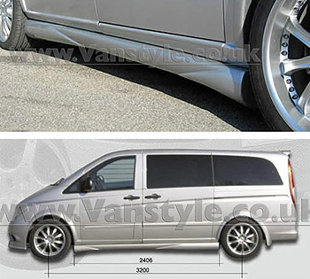 SportMAX Side Skirts (Pair) ABS Unpainted Compact/Long Vito 2003