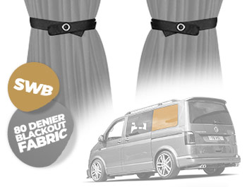 Tailored Blackout Curtain - Grey - Rear Quarter SWB - VW T5/T6