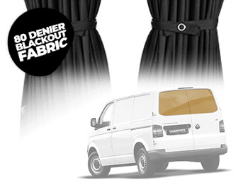 Tailored Blackout Curtain Set - Black - Twin Door - VW T5/T6