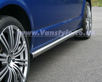 Safety Sidebars VW T5 Transporter / Caravelle - Chrome End Caps