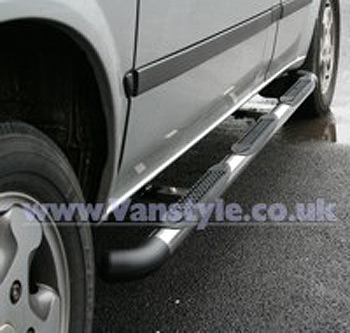 Safety SIDE BARS Polished Black Corner Caps - Ducato Boxer Relay