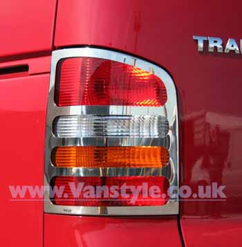 Stainless Steel Rear Light Covers - VW T5 / Caravelle 03 - 09