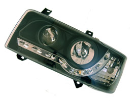 Headlamp Set, Black With Audi Style LED, VW T4, Short Nose