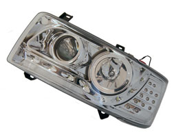 Headlamp Set, Chrome With Audi Style LED, VW T4, Short Nose