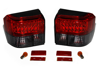 Rear Light Set, Half Smoked & Half Red With LED, VW T4 1990>03