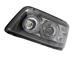 Headlamp Set, Black With Angel Eye Side Light, VW T5 2003>09