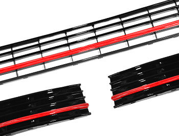Gloss Red ABS Lower Grille Trim Insert Set - VW T6 2015>