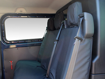 100% Waterproof Black Rear Bench Seat Cover - Transit Custom 12>