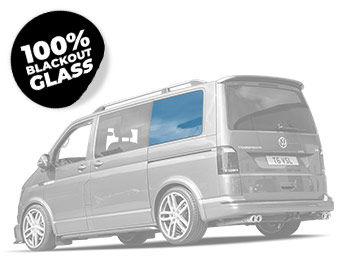 NSR Passenger Side Blackout Rear Quarter Glass - VW T5 T6 SWB