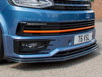 VW T6 Extra Low ABS Gloss Black Sportline Lower Lip Splitter