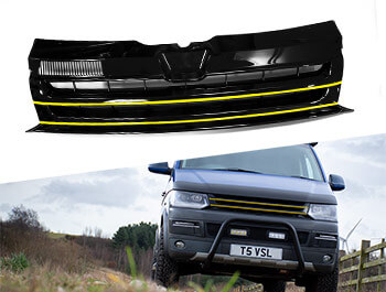 Gloss Black Badgeless Grille w/ Yellow Trim Inserts - VW T5.1