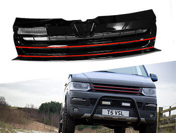 Gloss Black Badgeless Grille w/ Red Trim Inserts - VW T5.1