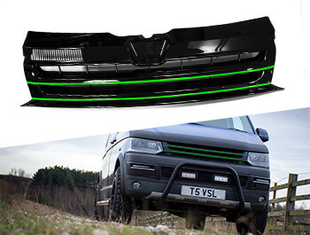 Gloss Black Badgeless Grille w/ Green Trim Inserts - VW T5.1