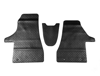 Black Rubber RHD Front Cab Mats - Heavy Duty - VW T6.1 2019>