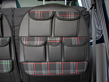 Universal Seat Back Storage Pocket Organizer - Red Tartan