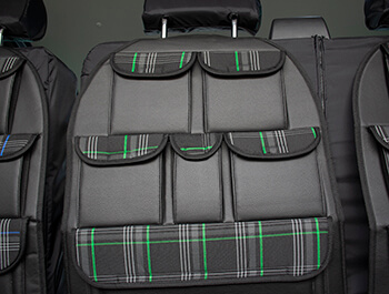 Universal Seat Back Storage Pocket Organizer - Green Tartan