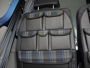 Universal Seat Back Storage Pocket Organizer - Blue Tartan