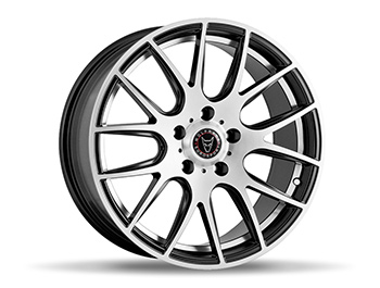 "Wolfrace Munich Black Polished 18"" VW T5 T6 Alloy Wheels"