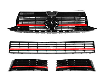 VW T6 Gloss Black Grilles w/ Upper & Lower Red Trim